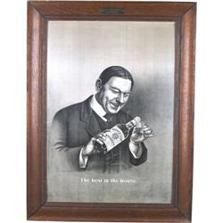 "Garrick club tin whiskey sign 25"" x 33"""