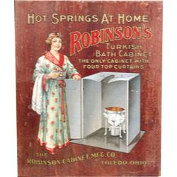 Robinsons Turkish Bath Cabinet ad on wood MFG by Merico
