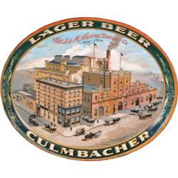 Culmbacher Lager Beer Litho tin oval serving tray