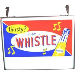 "Large 2 Sided Plastic  ""Whistle"" Soda  Store Front Sign"