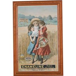 Enameline paper advertising sign c1900 showing 2 girls