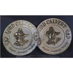 Lot of 2 Lord Calvert tin Chargers 23  diameter