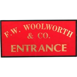 F W Woolworth Amp Co Entrance Sign Reverse Glass 12 Quot X