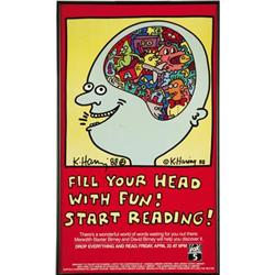 Keith Haring Signed  Reading For Fun  Poster.
