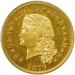 1879 Four-Dollar Gold Stella. Flowing Hair. Judd-1635, Pollock-1832/1833. Rarity-3. Proof-62 (PCGS).