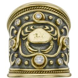 Diamond, Enamel,Gold Zodiac Ring, Elizabeth Gage
