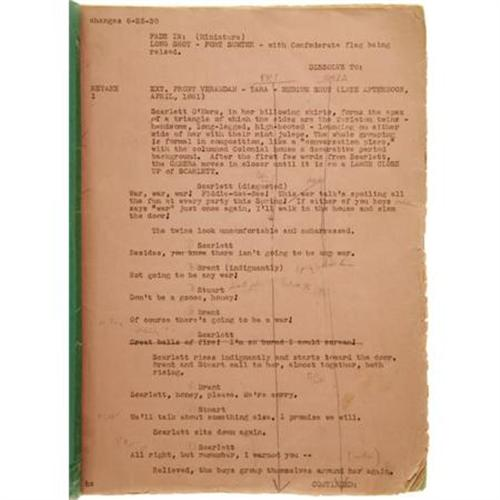 Gone With The Wind Script With Notes Memos
