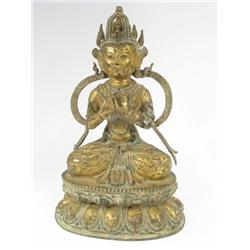 A CHING DYNASTY BRONZE SCULPTURE OF TARA, c.