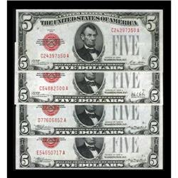 A Group of Four Early $5 Legal Tender Notes.
