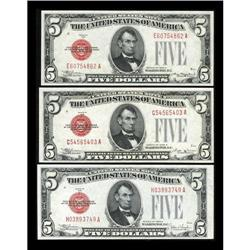 A Trio of Early $5 Legal Tender Notes. Choice