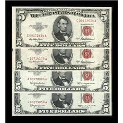 Four Later Series $5 Legal Tender Notes. Choice