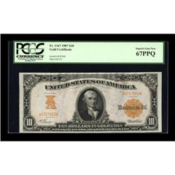 Fr. 1167 $10 1907 Gold Certificate PCGS Superb