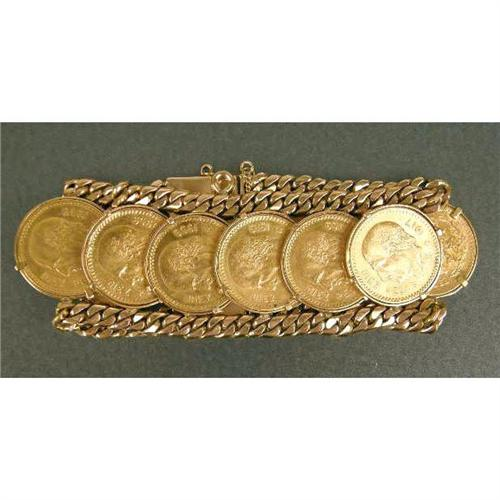 An Unmarked Yellow Gold Bracelet With Ten Mexican Z Pesos Coins