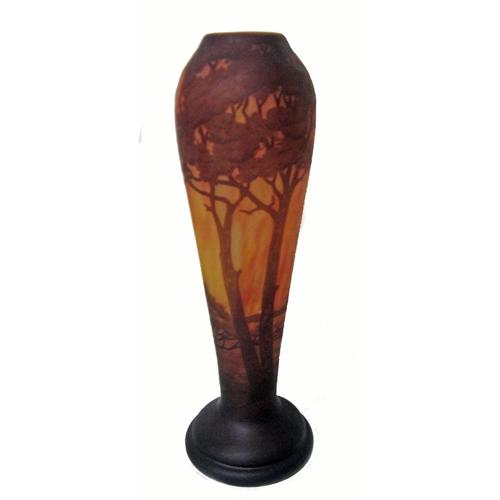Daum Nancy Scenic Cameo Glass Vase Purple Brown T