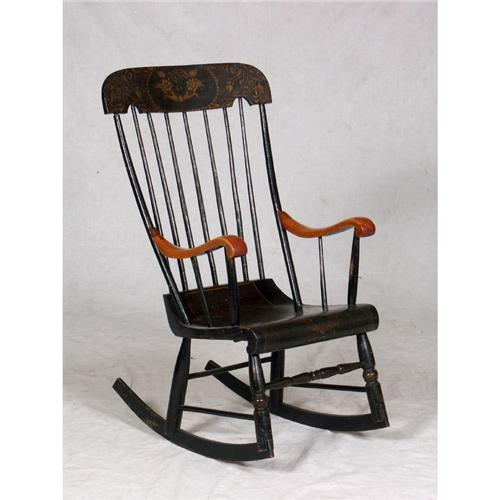 sc 1 st  iCollector.com & VINTAGE TALL-BACK WINDSOR ROCKING CHAIR