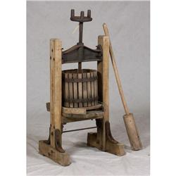 ANTIQUE WOOD APPLE CIDER PRESS WITH JUICE TRAY