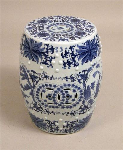 ... Image 4 : THREE CERAMIC BLUE AND WHITE CHINESE GARDEN SEATS