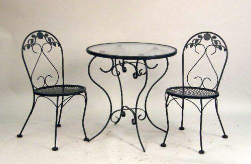 A Modern Wrought Iron Ice Cream Parlor And Gl Topped Table Chairs Loading Zoom