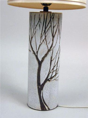 ... Image 2 : A CONTEMPORARY WHITE POTTERY TREE BRANCH EMBOSSED TABLE LAMP  ...