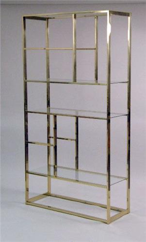 a contemporary brass and glass etagere. Black Bedroom Furniture Sets. Home Design Ideas