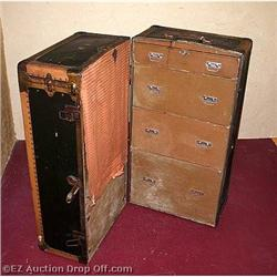 Antique Belber  Steamer Trunk Wardrobe Chest #2264657