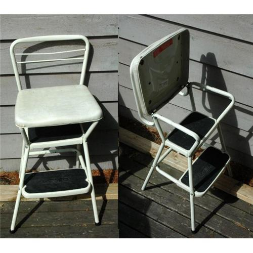 & Vintage Retro Kitchen Step Ladder Chair Stool#2337266 islam-shia.org