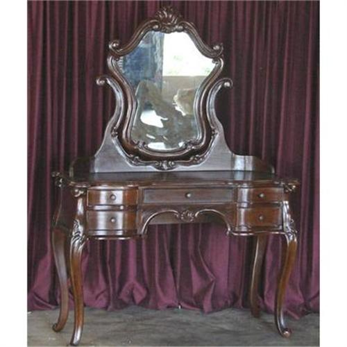 - ANTIQUE FRENCH VICTORIAN VANITY TABLE W/ MIRROR#2329103