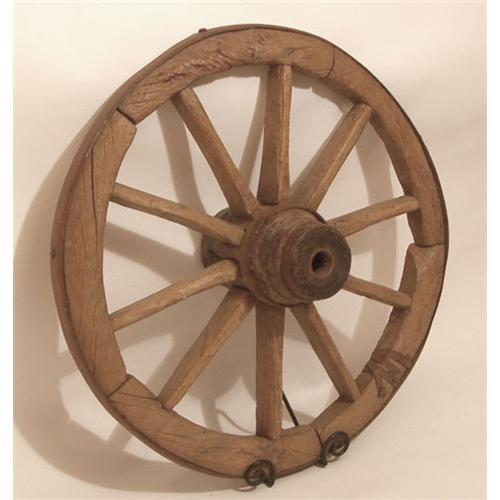 Wooden Wheel Table ~ Antique wood wagon wheel table