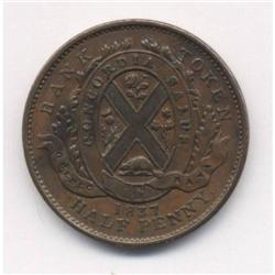 1837 Lower Canada Quebec Un Sou Token Breton #522