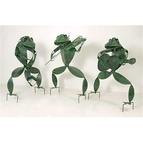 3 Musical Metal Garden Frogs Large Statues 2371299