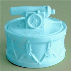 PORTIEUX Blue Milk Glass Toy Canon on Drum Jar #2393782