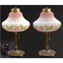 Pair of Pink Floral Milk Glass and Brass Lamps #2393797