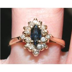 16 Diamond Marquise Sapphire Cluster Ring 14K #2393917