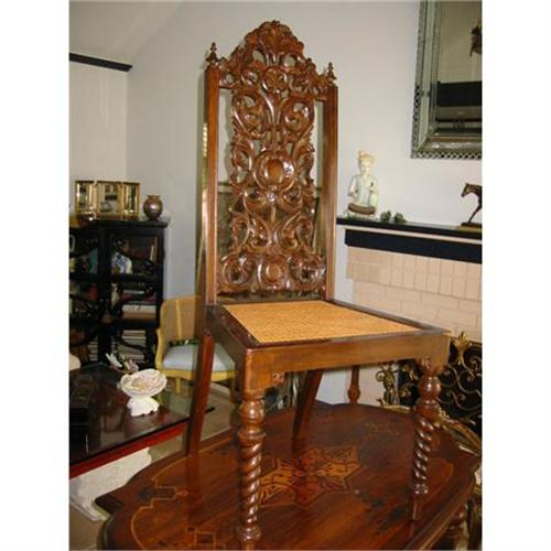 Pr Of Victorian Style Chairs High Back Wood 2394131