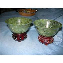Pair of Chinese Spinach Jade Bowls #2394166