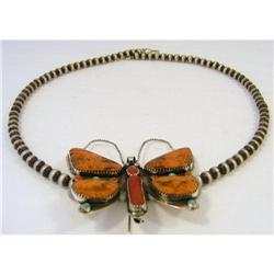Necklace./Pin Butterfly. Agate Coral & Turq. #2394183