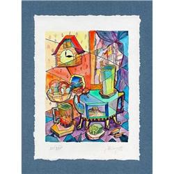 """""""Old Samovar and Cuckoo Clock"""" cubism's litho #2385099"""