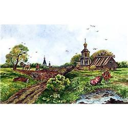 """Watercolor """"Old Russia. Spring in the village"""" #2385102"""