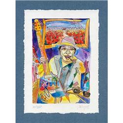 """""""Musician, Guitar and Poppies"""" cubism's litho #2385120"""