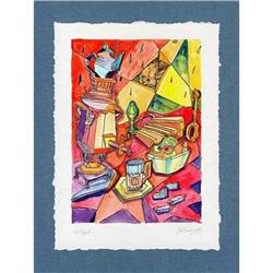 """""""Still Life with Samovar on Red"""" cubism's litho#2385122"""