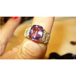 4 CT Amethyst Ring with 14 Accent Diamonds #2385133