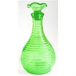 Hocking Green Depression Glass Ribbed Decanter #2385290