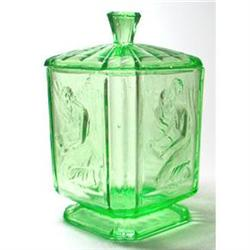 Sowerby PANDORA Green Art Deco Glass Vanity #2385298