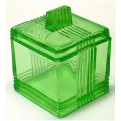 Art Deco Green Depression Glass Powder Jar #2385308