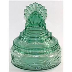 Teal Depression Glass Pleated Fan Powder Jar #2385311