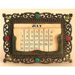 Ornate Brass Vanity Calendar with Glass Jewels #2385314