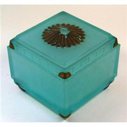 SUNBURST Blue Satin GlassTaussaunt Powder Jar #2385319