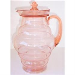 DUNBAR Art Deco Pink Depression Glass Pitcher #2385322