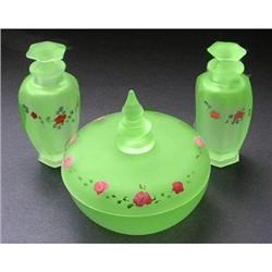 Tiffin Green Satin Depression Glass Vanity Set #2385323