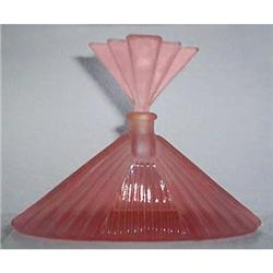 Pink Satin Art Deco Glass FAN Perfume Bottle #2385329